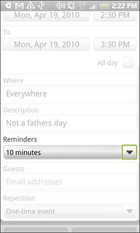 Reminders dropdown
