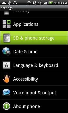 Almacenamiento en tarjeta SD y en el teléfono