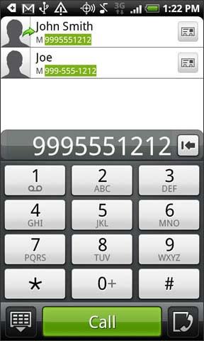 Marca el número y luego toca Call