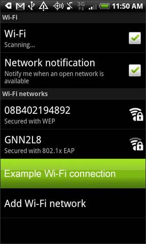 Select and hold wifi network
