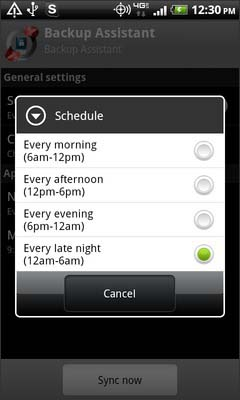 Select a schedule option
