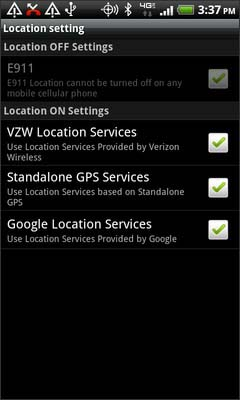 Select Google Location Services