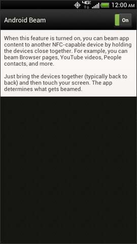 Android Beam™ screen, On / Off