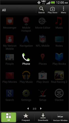 Apps menu, Phone