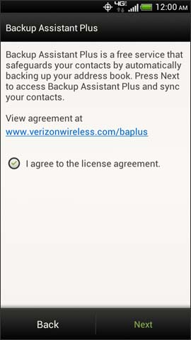 Backup Assistant Plus license agreement screen, Next