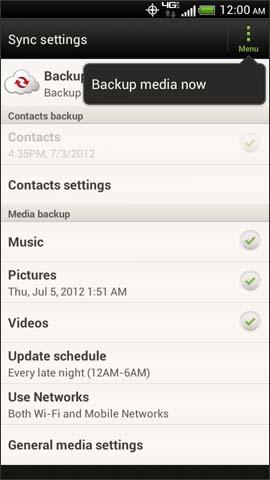 Menú Media en Backup Assistant Plus, opción Backup media now