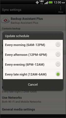 Backup Assistant Plus, Update schedule options screen