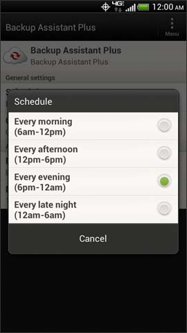 Backup Assistant Plus Schedule options screen