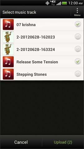Songs menu, Upload