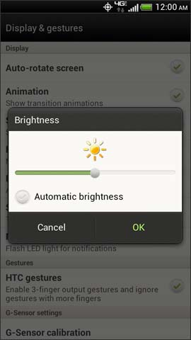 Brightness adjustment screen, OK