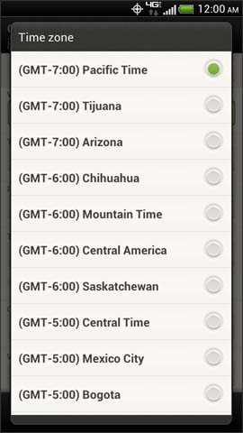 Calendar Time zone options screen