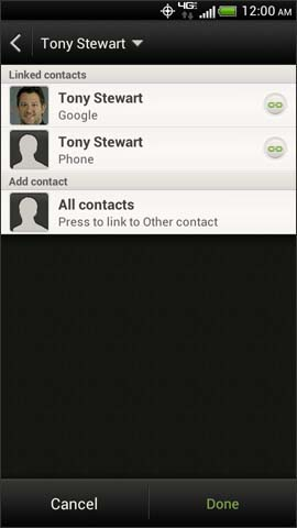 Linked contacts screen, Done
