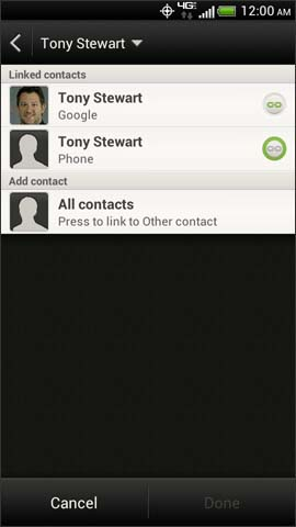 Contacts linked screen, Link