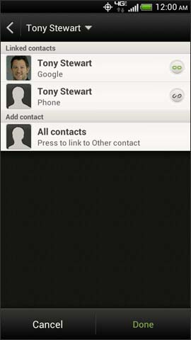 Contacts linked screen, Done