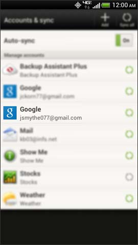 Accounts & sync screen, Gmail account username