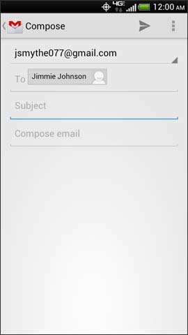 Gmail compose screen, Subject field