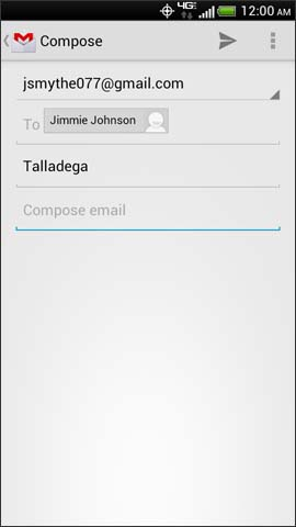 Gmail compose screen, Compose email field