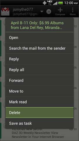 Pantalla Email Options, Delete