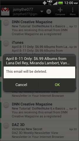 Confirmación de eliminación de email, OK