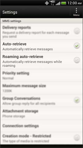 Multimedia messages settings, Auto-retrieve / Roaming auto-retrieve