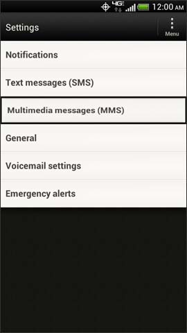 Message settings screen, Multimedia Messages (MMS)