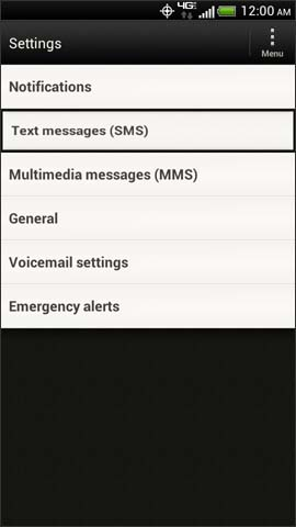 Message settings screen, Text Messages (SMS)