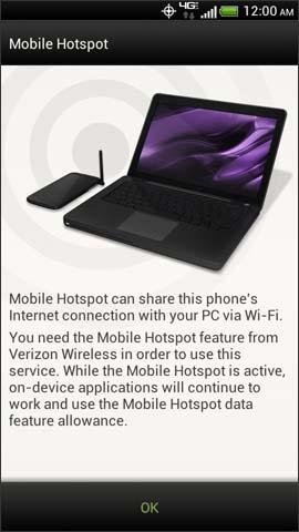 Pantalla de confirmación de Mobile Hotspot, OK