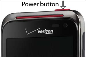 Image of the top portion of the device showing the power button