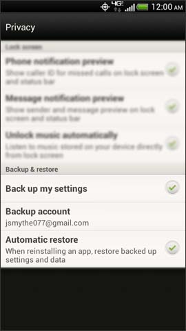 Privacy screen, Backup & restore
