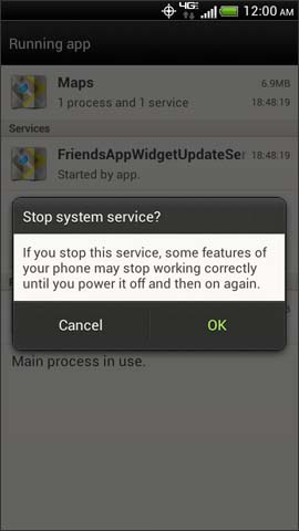 Stop system service confirmation screen, OK