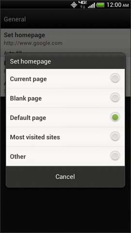Set homepage options screen