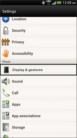 Settings menu, Display & gestures