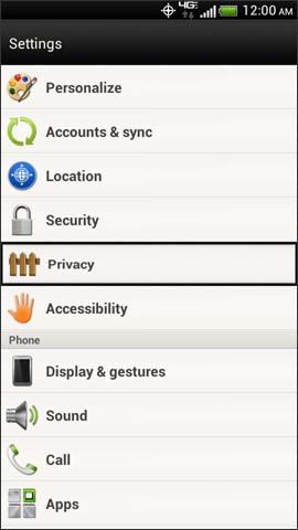 Settings menu, Privacy