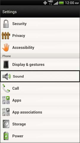Settings screen, Sound