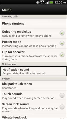Pantalla Sound, Notification sound
