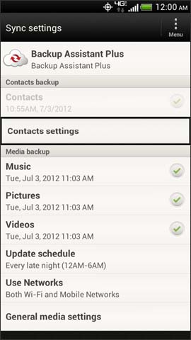 Sync settings screen, Contacts settings