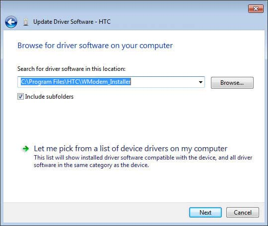 Browse for driver software