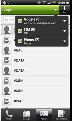 Check the desired locations to display the stored contacts