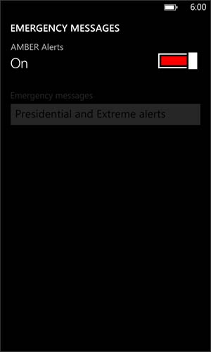 Emergency Messages screen with AMBER Alerts On / Off switch