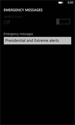 Emergency Messages screen with Emergency messages drop down