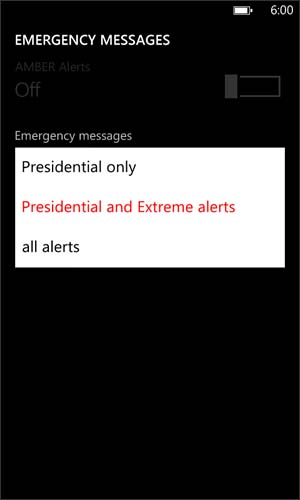 Emergency messages options