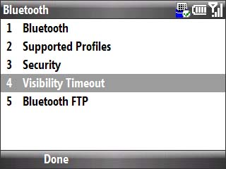 Bluetooth menu with focus on visibility timeout