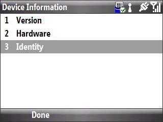 device information con identity seleccionado