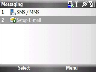 Messaging screen with focus on setup email