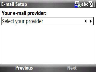 Email setup select your provider screen