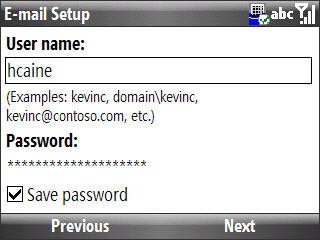 Email setup user name / password entry screen