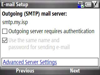 Email setup outgoing smtp server screen