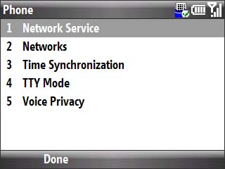 Phone settings menu with focus on network service