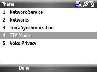 Phone settings menu with focus on tty mode