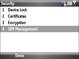 Security menu with focus on sim management